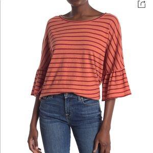 MADEWELL Stripe Flare Sleeve Tee shirt dahlia NWT